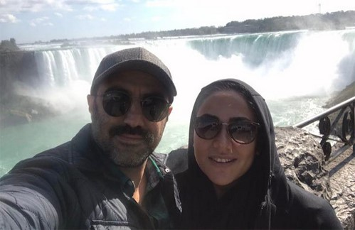 محسن تنابنده و همسرش در آبشار نیاگارا