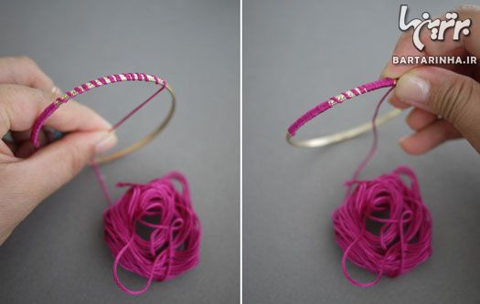 آموزش تصویری ساخت النگوهای نخ پیچ رنگی
