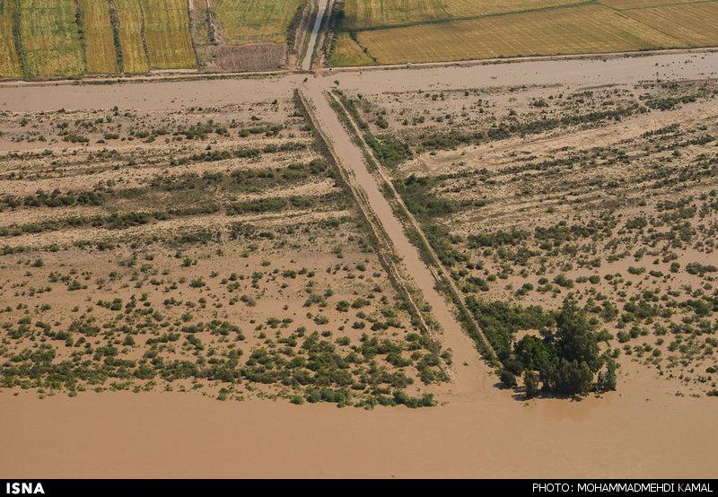 تصاویر هوایی از وقوع سیل و آبگرفتگی در دزفول - خوزستان