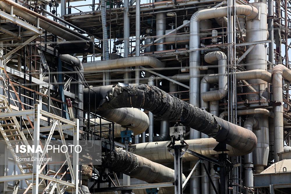 پتروشیمی بوعلی سینا ماهشهر پس از مهار آتش سوزی