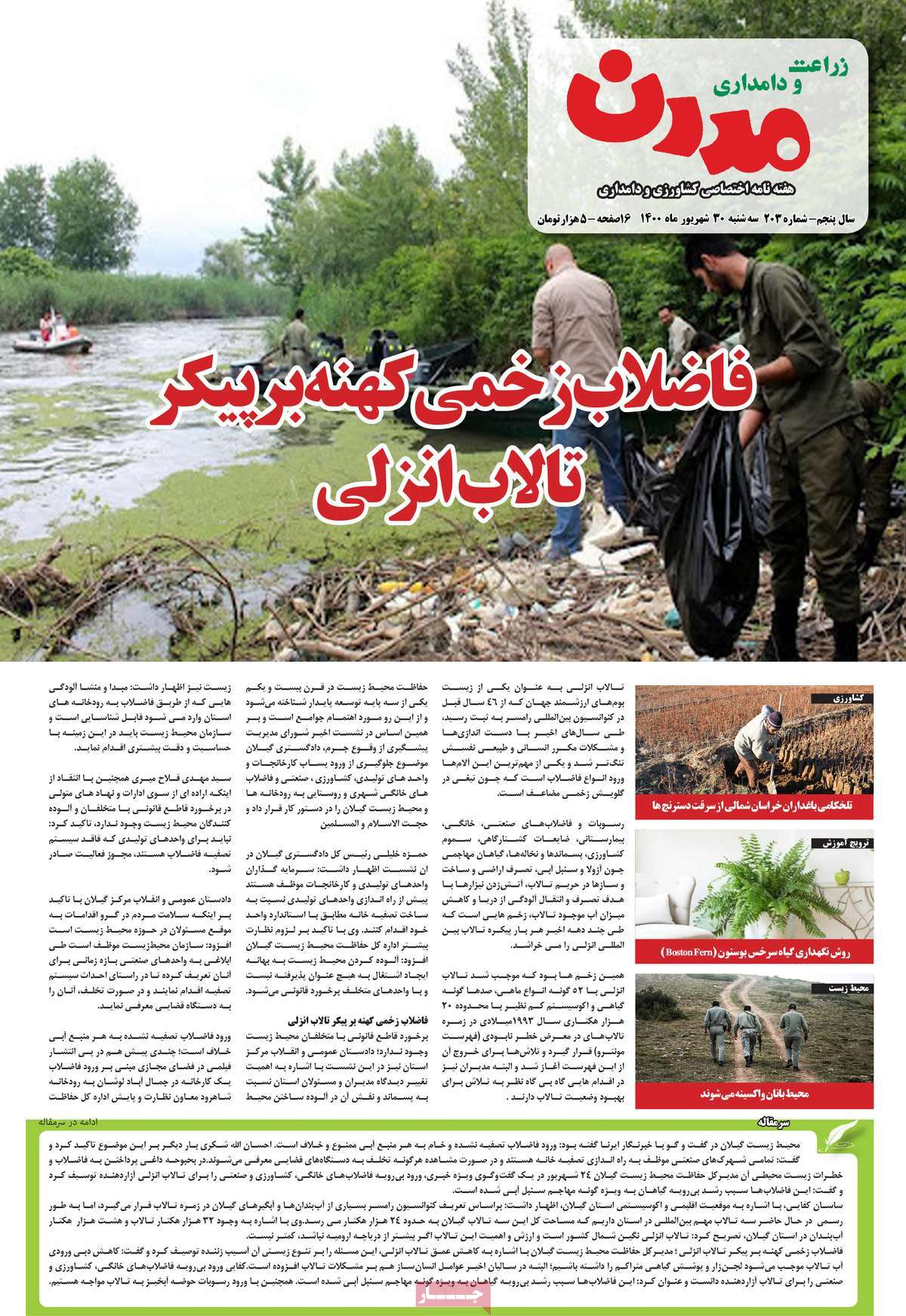 صفحه نخست مجله زراعت و دامداری مدرن - سه شنبه, ۳۰ شهریور ۱۴۰۰