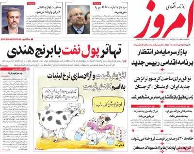 روزنامه امروز - یکشنبه, ۱۸ مهر ۱۴۰۰