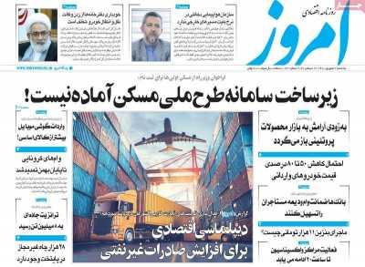 روزنامه امروز - یکشنبه, ۲۱ شهریور ۱۴۰۰