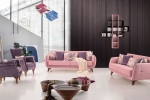 مدل های مختلف مبلمان رنگ صورتی در دکوراسیون اتاق نشیمن و پذیرایی