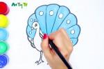 آموزش نقاشی به کودکان   مرحله به مرحله کشیدن نقاشی طاووس