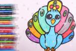آموزش نقاشی به کودکان   این قسمت نقاشی طاووس رنگی و زیبا