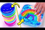 بازی با اسلایم های رنگی و اضافه کردن کلی اسمبر و مهره به آن