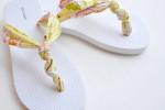 تزئین دمپایی با نوار پارچه ای