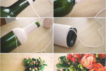 گلدان گل شامپاینی با نخ کاموا
