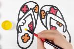 آموزش نقاشی به کودکان   این قسمت نقاشی دمپایی صندل