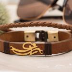 50 مدل دستبند چرم مردانه و زنانه دست دوز با پلاک طلا