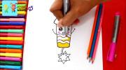 آموزش نقاشی به کودکان (کشیدن موشک بازیگوش)