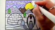آموزش نقاشی پنگوئن و قطب جنوب به کودکان