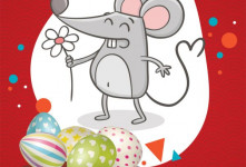 کارت پستال تبریک عید نوروز - طرح موش ۱۳۹۹