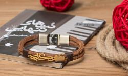 دستبند چرم مردانه با پلاک طلا , هدیه ایی به یاد ماندنی - سری اول