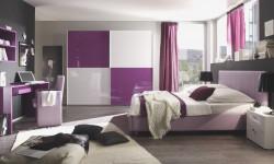 طراحی دکوراسیون شیک و با متانت در اتاق خواب با رنگ یاسی و بنفش