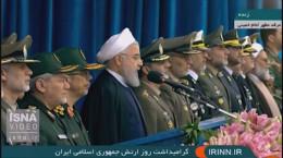 فیلم سخنرانی حسن روحانی در مراسم رژه روز ارتش ۹۸