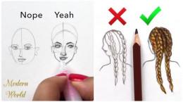 آموزش قدم به قدم نقاشی سیاه قلم چهره، چشم، مو، دهان و بینی