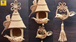 آموزش ساخت کلبه پرنده بسیار زیبا با پارچه گونی (ایده کسب درآمد)