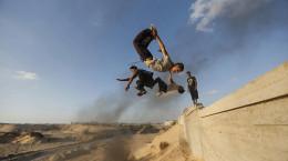 تصاویر ورزش پارکور در غزه