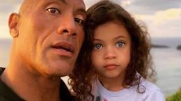 عکس دواین جانسون و دختر ۴ ساله اش