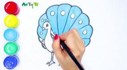 آموزش نقاشی به کودکان | مرحله به مرحله کشیدن نقاشی طاووس