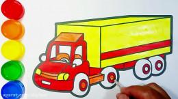 آموزش نقاشی کامیون باری به کودکان