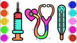 آموزش نقاشی به کودکان | این قسمت دو نقاشی وسیله پزشکی و حمام