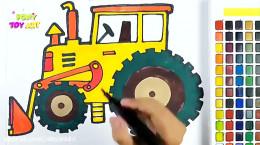 آموزش نقاشی به کودکان | این قسمت نقاشی تراکتور با بیل مکانیکی