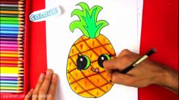 آموزش نقاشی به کودکان   این قسمت نقاشی آناناس