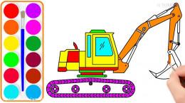 آموزش نقاشی به کودکان   این قسمت نقاشی ماشین بیل مکانیکی