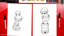 آموزش نقاشی به کودکان | این قسمت نقاشی شیرینی ماکارون