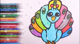 آموزش نقاشی به کودکان | این قسمت نقاشی طاووس رنگی و زیبا
