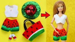 آموزش ساخت لباس برای عروسک باربی مدل هندوانه ای
