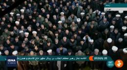 فیلم کامل نماز خواندن رهبر انقلاب بر پیکر شهید سلیمانی و همرزمانش