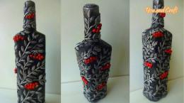 تزیین بطری شیشه ای دور ریز و تبدیل آن به یک اثر هنری زیبا