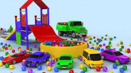 انیمیشن کامیون ها و تراکتورها با بار توپ های رنگی برای کودکان پسر