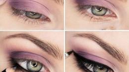 آموزش تصویری آرایش چشم رنگ بنفش