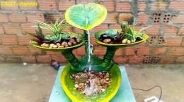 آموزش ساخت آسان آبنمای زیبا با سیمان به شکل گلبرگ