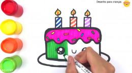 آموزش نقاشی به کودکان | این قسمت نقاشی کیک تولد زیبا
