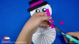 ساخت ادم برفی با کاغذ رنگی