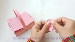 درست کردن کاردستی سبد با کاغذ رنگی