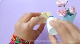 درست کردن کاردستی گلدون با کاغذ رنگی