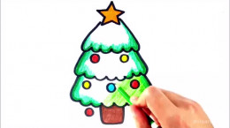 آموزش نقاشی درخت کاج کریسمس برای بچه ها