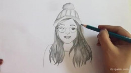 آموزش طراحی دختر با مداد