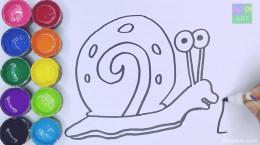 نقاشی کودکانه حلزون باب اسفنجی