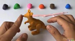 ساخت کاردستی کانگورو با خمیر بازی