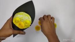 درست کردن دسته گل با کاغذ رنگی