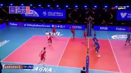 خلاصه بازی والیبال ایران 1 - روسیه 3 جام ملت ها 2021