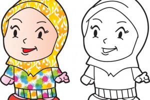 20 نقاشی شیک و باکلاس با موضوع حجاب برای رنگ آمیزی کودکان